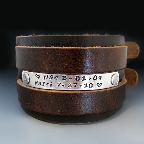Men's 2 inch Wide Custom Leather Bracelet