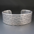 Men's 3/4 inch wide PERSONALIZED Hammered Silver Cuff Bracelet