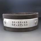 Men's Custom Leather Cuff - Save The Date