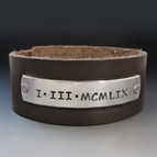 Men's Custom Roman Numeral Leather Cuff