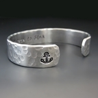 Men's Custom Silver Anchor Cuff Bracelet