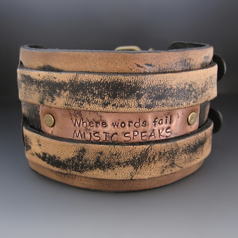 Custom 2 inch Wide Distressed Leather Bracelet