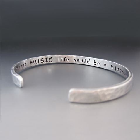 Men's PERSONALIZED 1/4 inch Wide Thin Silver Cuff Bracelet