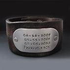 Men's 1.5 inch Hand Stamped Custom Leather Cuff