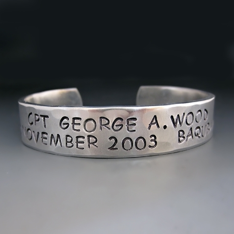 Personalized Silver KIA {Killed in Action} Cuff Bracelet