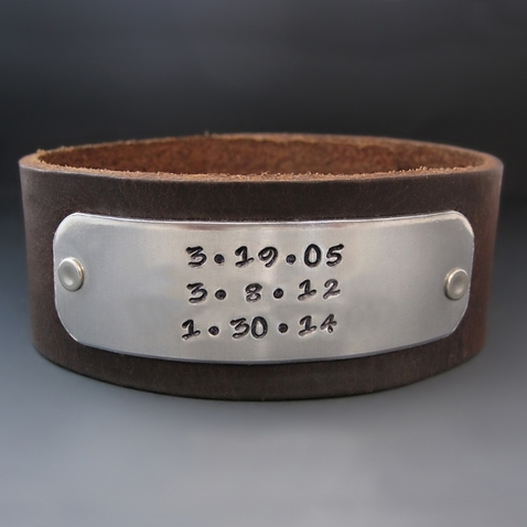 Men's Personalized Save The Date Leather Cuff