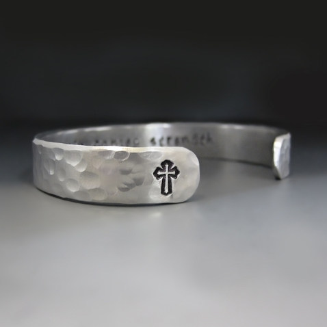 Men's Personalized Silver Cross Bracelet