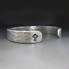 Men's Personalized Silver Hammered Cross Bracelet