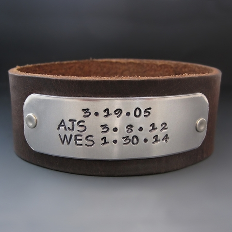 Men's Custom Hand Stamped Leather Cuff