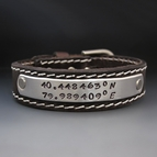 "Men's 3/4"" Wide Stitched Personalized Leather Bracelet"