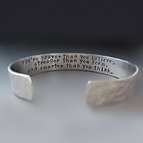 Men's 1/2 inch wide PERSONALIZED Silver Cuff Bracelet
