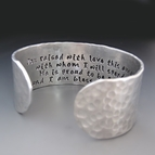 Custom Mother Of The Groom Silver Cuff Bracelet