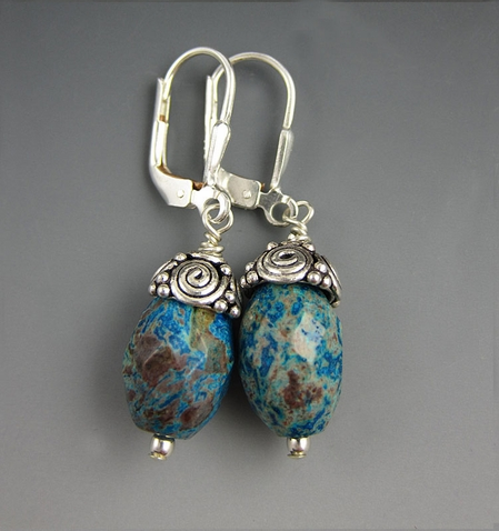 Sterling Silver Blue Ocean Jasper Earrings