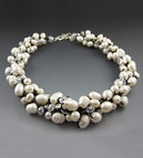 White Fresh Water Pearl Cluster Choker Necklace