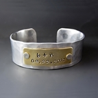 3/4 Inch Wide Custom Hand Stamped Silver and Gold Bracelet