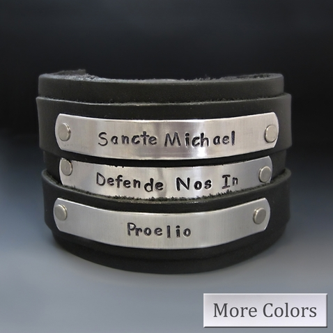 Men's Personalized Wide Leather Cuff Bracelet