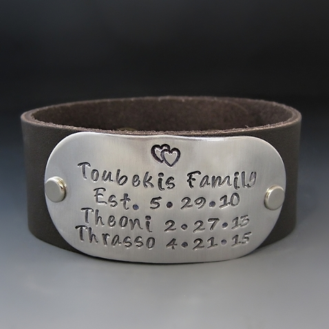 Personalized Family Leather Cuff