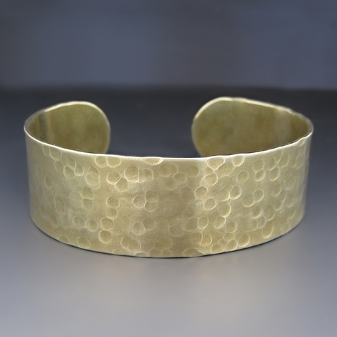 Personalized Gold Brass Cuff Bracelet [3/4 inches Wide}