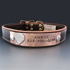 Personalized Leather Dog Collar  {Copper Plate}