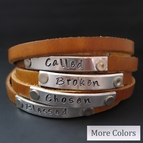 Personalized Skinny Leather Wrap Bracelet