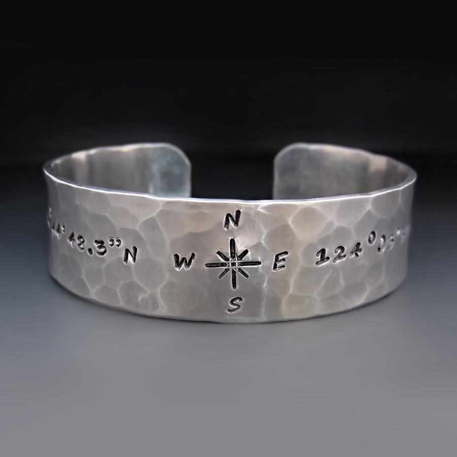 com customized stamped hand dp cuff location longitude personalized and latitude bracelet amazon coordinates