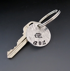 Personalized Hand Stamped Silver Initials & Date Keychain