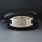 PERSONALIZED Skinny Leather Wrap Bracelet - Silver Plate
