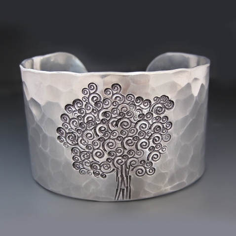 Personalized Silver Tree of Life Bracelet {Swirls}