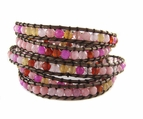 Pink Gemstone Leather Wrap Bracelet