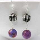 Purple Gem Stone Earrings - Sterling Silver