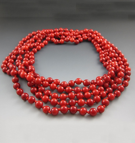Long Red Coral Beaded Necklace {60 Inches}
