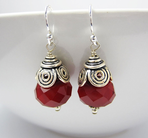 Red Glass Earrings - Dangle - Sterling Silver
