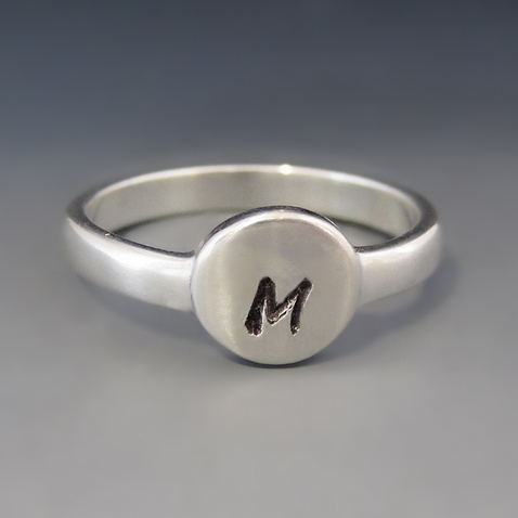 Sterling Silver Round Initial Stacking Ring