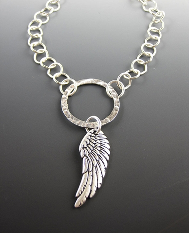 Silver Angel Wing Necklace - Sterling Angel Pendant