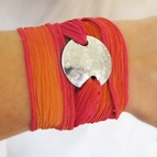 Silver Bubble Silk Wrap Bracelet