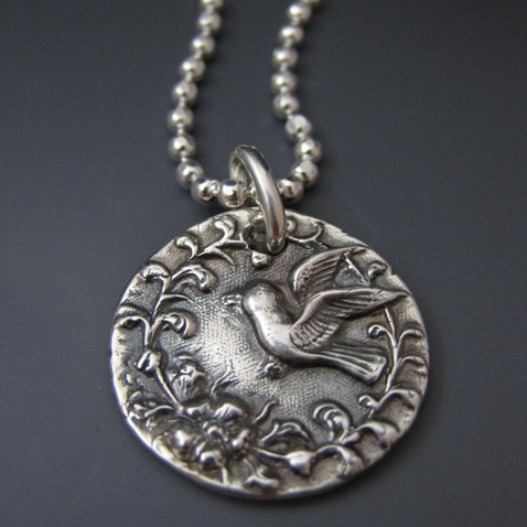 Fine Silver Flying Bird Necklace