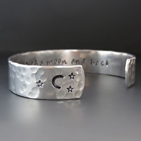 Silver I Love You To The Moon and Back Cuff Bracelet