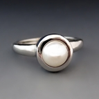 Silver White Pearl Stacking Ring