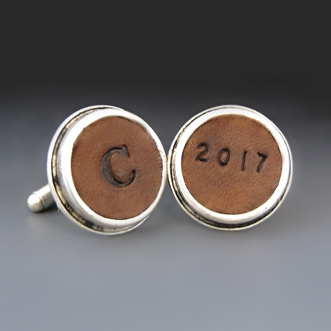 Silver Personalized Embossed Leather  Cufflinks