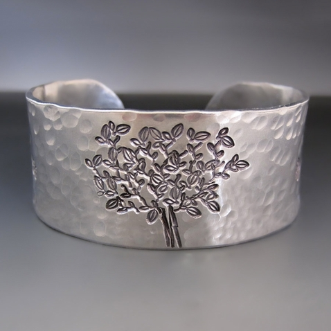 Silver Personalized Tree of Life Cuff Bracelet
