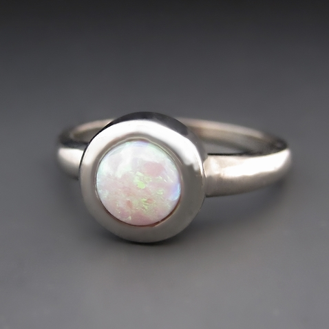 Silver White Opal Stacking Ring - Bezel Setting