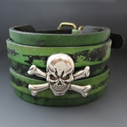 Skull & Crossbones Wide Leather Cuff