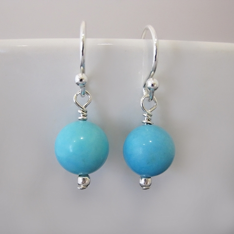 Small Sky Blue Turquoise & Sterling Silver Earrings