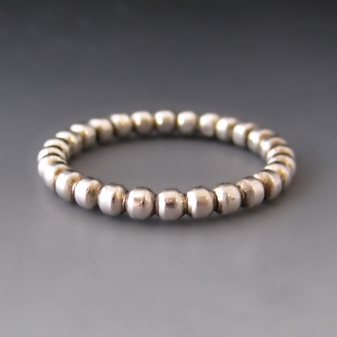 Sterling Silver Beaded Spacer Stracking Ring