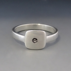Sterling Silver SQUARE Initial Stacking Ring