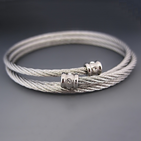 Stainless Steel Wire Charm Bracelet / One Size Fits All
