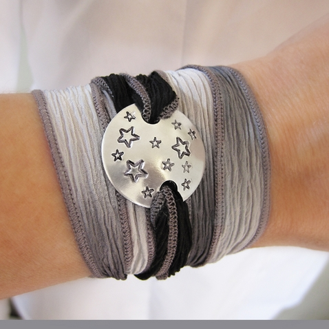 Starry Night Silk Wrap Bracelet