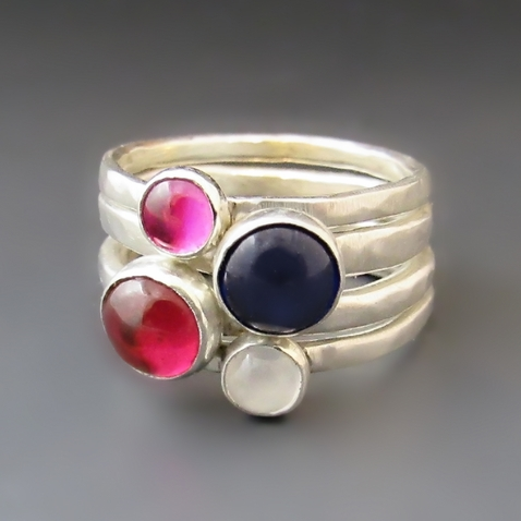 Sterling Silver Birthstone Stacking Rings