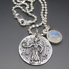 Sterling Silver Guardian Angel / Greek Goddess Coin Necklace
