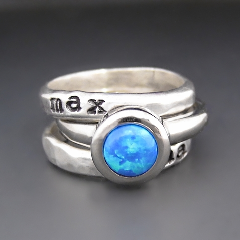 Sterling Silver & Blue Opal Personalized Stacking Ring Set